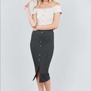 Dresses & Skirts - Front Button Down Detail Tow Tone Knit Midi Skirts